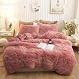 Plush Shaggy Duvet Cover Set Luxury Ultra Soft Crystal Velvet Bedding Sets 3 Pieces(1 Faux Fur Duvet Cover + 2 Faux Fur Pillowcases),Zipper Closure(King,Old Pink)