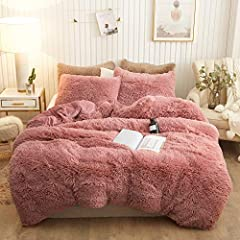 The front of the duvet cover and pillowcase is made of 100-percent polyester microfiber plush shaggy , and the back is ultra soft crystal velvet fabric.Add a touch of graceful color to your room.Resistance to fade, Wrinkles ,pilling resistant . Also ...