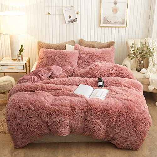 XeGe Plush Shaggy Duvet Cover Set Luxury Ultra Soft Crystal Velvet Bedding Sets 3 Pieces(1 Faux Fur Duvet Cover + 2 Faux Fur Pillowcases),Zipper Closure(Queen,Old Pink)