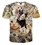 Pizoff Unisex Digital Print Schmale Passform T Shirts mit Katzen Cat 3D Muster, A1625-13, L