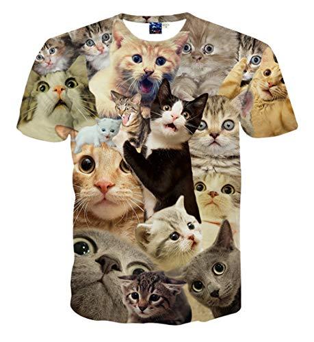 Pizoff Unisex Digital Print Schmale Passform T Shirts mit Katzen Cat 3D Muster, A1625-13, M