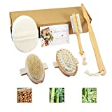 4 Pack Shower & Bath Set with Natural Boar Bristles Bath Brush, Pumice Stone Brush for Foot Callus, Dry Brush SPA Massager for Cellulite & Lymphatic, Natural Loofah Sponge for Women & Kids