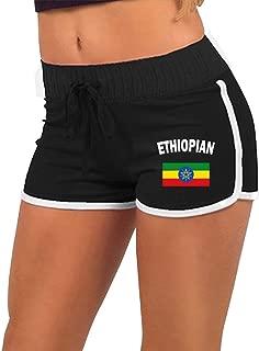 Women's Sexy Mini Shorts Ethiopian Flag-1 Low-Rice Gym Workout Raves Hot Pants