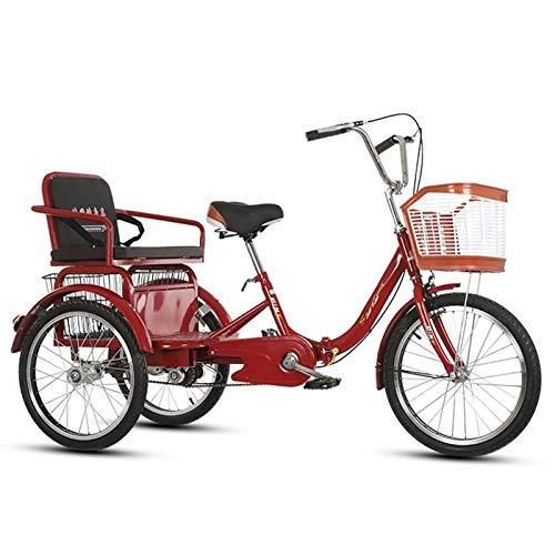 SN Triciclo Adulto 3 Ruedas Senior Wheel Cargo Bicicleta 20 Pulgadas con Cesta De Carga Manillar Y Asiento Trasero Ajustables Personas Mayores Mujer Hombres (Color : B)