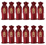 Burlap Wine Gift Bags, 12 Pcs Jute Drawstring Wine Bottle Covers with Tags and Ropes for Christmas, Wedding, Travel, Birthday, Holiday Party (Wine Red)