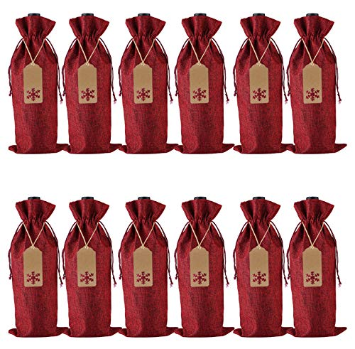 Jute-Geschenktüten mit Kordelzug für Weinflaschen, mit Anhänger und Seilen für Weihnachten, Hochzeit, Reisen, Geburtstag, Urlaubsparty, 12 Stück Large weinrot