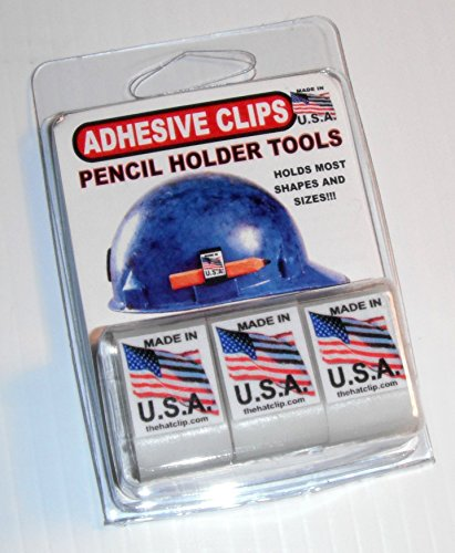 ADHESIVE PENCIL HOLDER CLIP for hard hat toolbox lockers clipboard and more! WHITE 3 PACK holds regular or carpenter pencils and even some Sharpies Use on powertools saws welder drills USA made