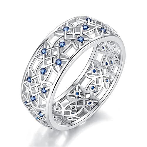 LINYIN 2pcs Creative Hollow Ring Temperament señoras Anillo Pareja Anillo joyería de Moda 7号 White