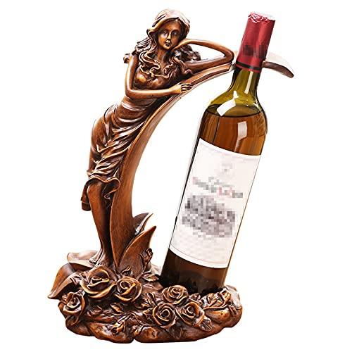 Yadlan Mujer Botellero Estante para Botellas de Vino de Resina, Creativo Adornos para el Hogar, Bar, Hotel, Accesorios del Gabinete del Vino