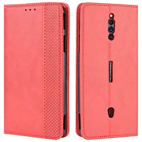 HualuBro Handyhülle für ZTE Nubia Red Magic 5G Hülle, Retro Leder Stoßfest Klapphülle Schutzhülle Handytasche LederHülle Flip Hülle Cover für ZTE Nubia Red Magic 5G Tasche, Rot