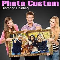 カスタムダイヤモンドペインティングキット 独自の写真付き パーソナライズDIYフォトダイヤモンドアート 5D DIYペインティング 大人と子供用 フルラウンドドリル 70x70cm