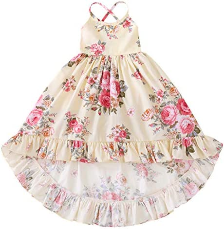 Somlatrecy Vintage Floral Girls Dress Summer Casual Cotton Baby Dress for 1 12 Years 10 Years product image