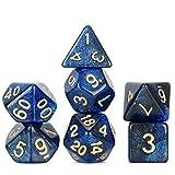 FLASHOWL Dados poliédricos Dados DND Dados del Cielo Estrellado Dados Juegos de Mesa Juego de Dados D20, D12, D10, D8, D6, D4 DND RPG MTG Dice Gaming Dice (7 Piezas Azul Oscuro y Negro)
