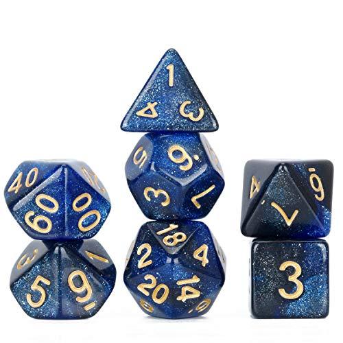 FLASHOWL Dadi poliedrici DND Dadi Cielo Stellato Dadi Via Lattea Dadi Giochi Giochi da Tavolo Dadi Set D20, D12, D10, D8, D6, D4 e DND Rpg MTG Dadi Dadi da Gioco (7 Pezzi Blu Scuro e Nero)