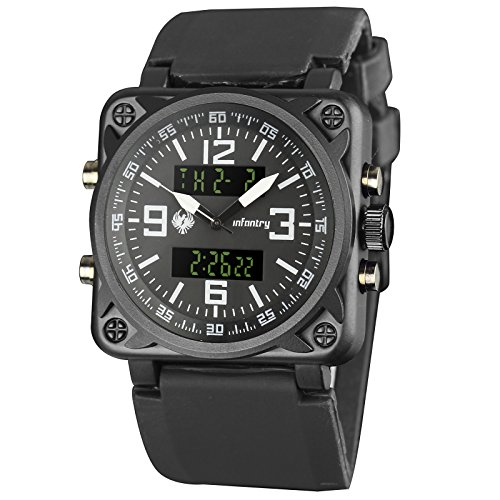 Infantry Mens Big Face Military Watch Tactical Army Sports Digital Watches for Men Black Outdoor Square Heavy Duty Man Male Large Cool Work Hiking Casual Men's Wristwatch