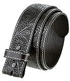 Genuine Full Grain Western Floral Engraved Tooled Leather Belt Strap 1-1/2' Wide (Black, 38)