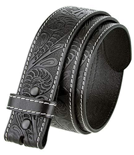 """Genuine Full Grain Western Floral Engraved Tooled Leather Belt Strap 1-1/2"""" Wide (Black, 34)"""