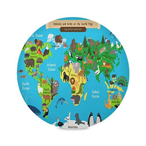 TropicalLife ADMustwin Set de table rond imprimé carte du monde animal, lot de 1 sets de table antidérapants et lavables pour cuisine, dîner, restaurant