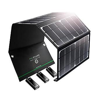 RAVPower ソーラーチャージャー 【USB 3ポート/24W】 iPhone/Android 各機種対応 ソーラーパネル アウトドア/災害時 RP-PC005