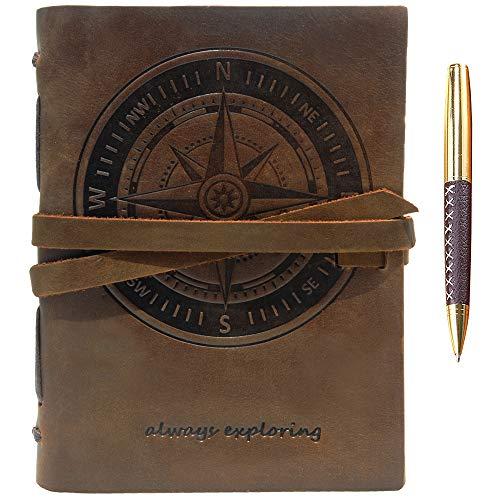 Leder Notizbuch A5 Tagebuch Journal Geprägt Kompass Handgefertigte Reisetagebuch, Vintage Notebook Für Männer Frauen Antik Rustikal Echtes Leder 21X15Cm Geschenk Sketchbook Reisende Travelers Notebook