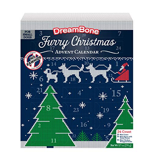 DreamBone Holiday Advent Calendar 24 Count, Real Chicken Rawhide-Free...