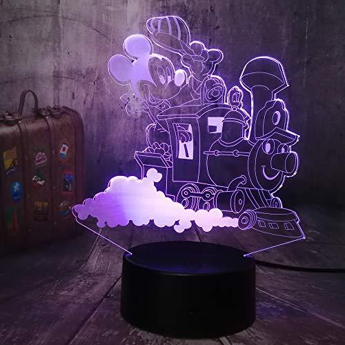 Nuevo Estilo Lindo Mickey Mouse Conduciendo Un Tren Lámpara Led 3D Mesa Noche Bombilla Decoración De La Habitación Juguetes Para Niños Bebé Año Nuevo Regalo De Navidad