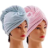 Microfiber Hair Towel Wrap 2 Pack Quick Magic Hair Dry Hat, Turban Twist