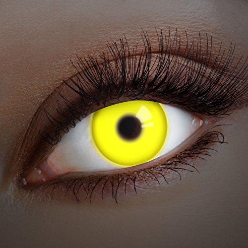 aricona Kontaktlinsen - Gelbe UV Kontaktlinsen ohne Stärke - Farbige Kontaktlinsen mit UV Spezialeffekt für Karneval, Fasching, Cosplay und Motto-Partys, 2 Stück