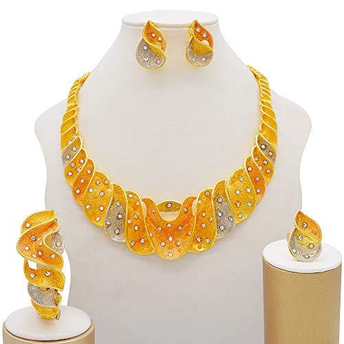 TCross Conjuntos de Joyas de Dubai para Mujeres Conjuntos de joyería de Novia Africana de Lujo Africano Collar Pendientes Pulsera Anillo para Mujeres (Metal Color : BJ819 1)