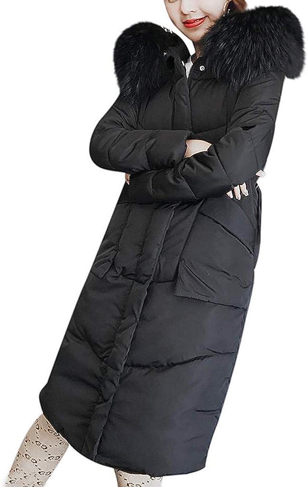 LODDD Women Winter Long Coat Faux Fur Hooded Collar Jackets Warm Thicken Padded Coat