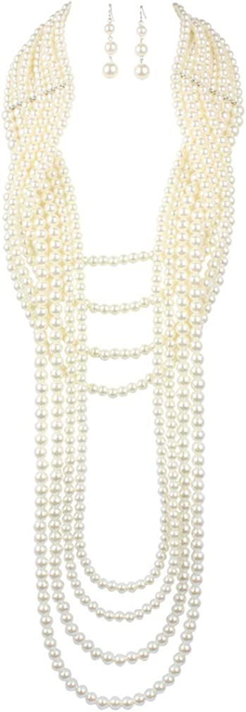 YAZILIND Jewelry Sets Necklace Earring Jewelry Set Multi Layer Long Faux Pearl Strand Costume Jewelry Set