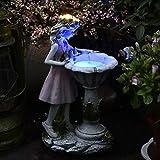 QXPuSS Statues Extérieures Fleur Fée Jardin Artisanat Décor avec Lumière Solaire Mignon Agnel Sculpture Résine Figurine Créative pour Patio Cour Jardin