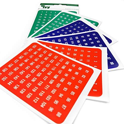Ivy Stationery–480sortiert selbstklebend nummeriert Etiketten–1–160–in rot, blau und grün–hergestellt in Großbritannien–(,)