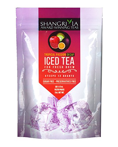 Shangri La Tea Company Iced Tea, Tropical Passion Decaf, Bag of 6, 1/2 Ounce Pouches