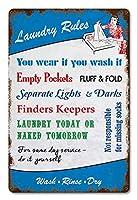 なまけ者雑貨屋 Laundry Rules メタルプレート アンティーク な ブリキ の 看板、レトロなヴィンテージ 金属ポスター