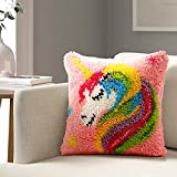 Latch Hook Kits DIY Throw Pillow Cover Crochet Crafts for Beginner Kids and Adults Handmade Crafts Home Decoration Festival Birthday Gift,Dream Unicorna 1717 inch