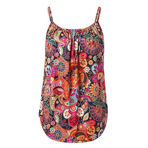 LOPILY Bluse Shirt Cropped Tops Damen Sommer Blumendruck Blumendruck Leibchen Crop Top Mode Blume Gedruckt Tank Top Camisole Top Locker Camisole Weste Tank Top (Rot,DE-38/CN-S)