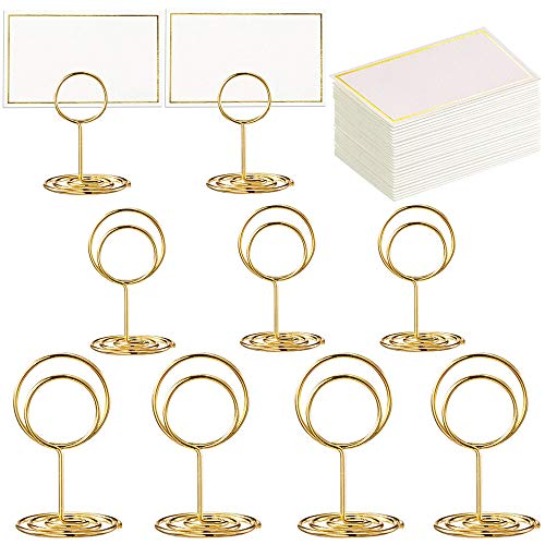 Toncoo 24 Pcs Premium Gold Table Number Holders and 24 Pcs Place Cards with Gold Foil Border, Place Card Holder, Table Sign Stand, Photo Picture Holders for Centerpieces, Wedding, Party, Birthday