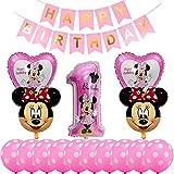 Decorazioni per Feste Topolino, BESTZY Palloncini Party Minnie Palloncini Lattice Primo Decorazione Festa di Compleanno per Bambini Kit per Feste Tema di Compleanno Baby Shower Decorazioni