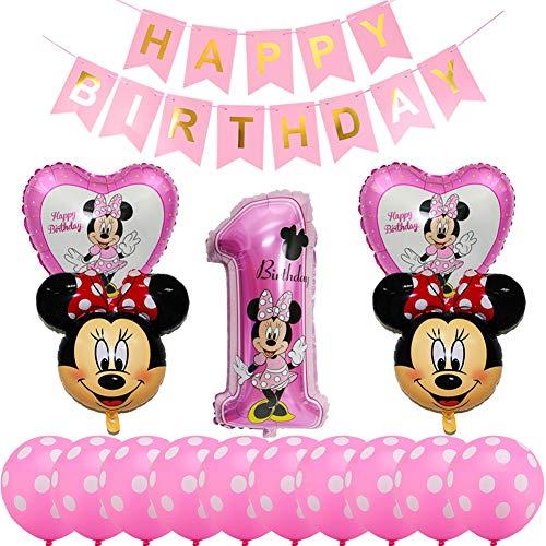 Decoraciones de Cumpleaños de Mickey Mouse, BESTZY 1er Cumpleaños Bebe Rosa Globos Decoracion Mouse Party Globos Latex Ballon para Party Comunion Bautizo Decoracion