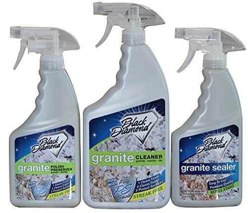 GRANITE CLEANER, POLISH AND SEALER Combo: Cleans Seals and Protects Marble, Travertine and Limestone Countertops