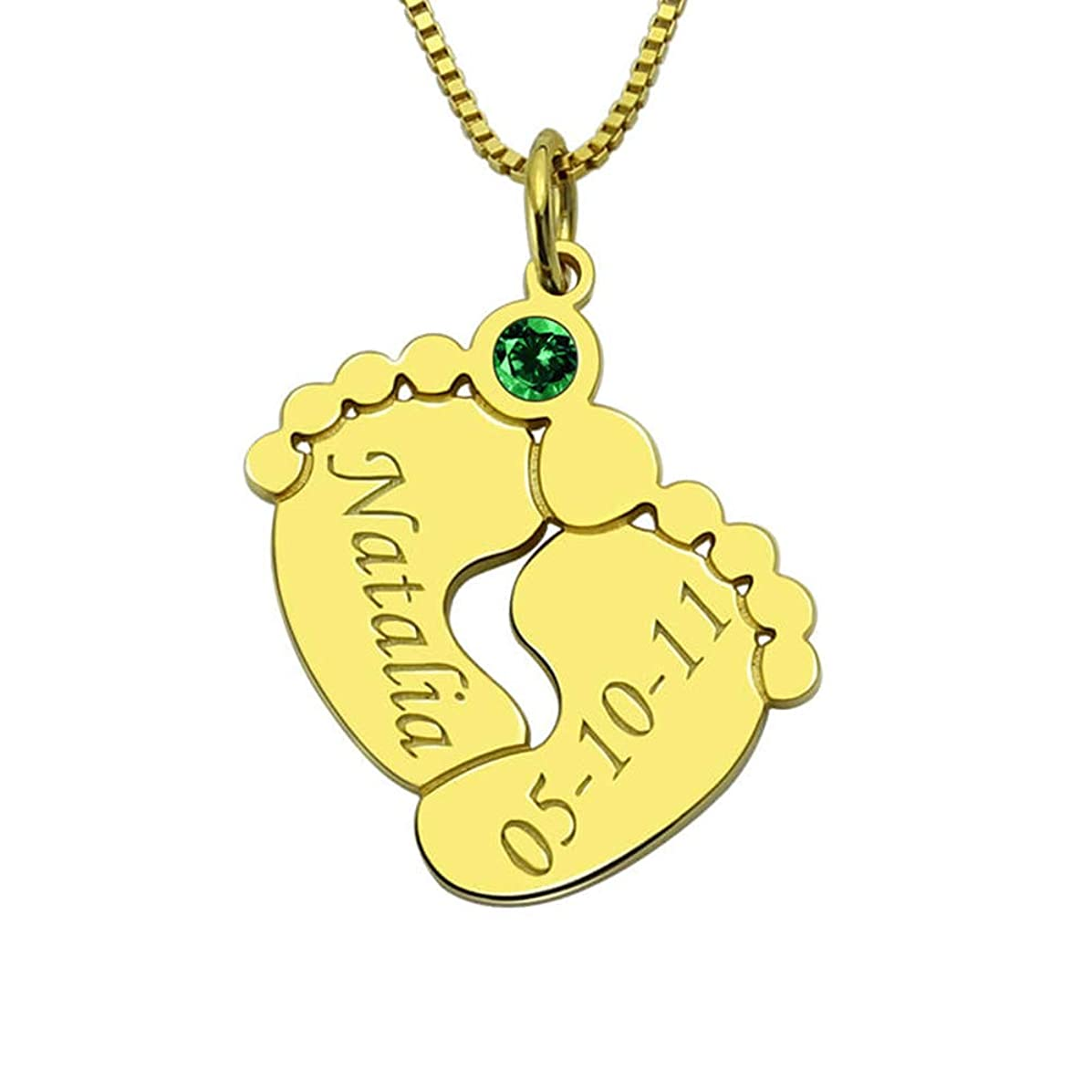 Getname Necklace Personalized Custom Engraved Baby Feet 925 Sterling Silver Necklace with Personalized Birthstone Mother's Day Jewelry