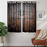 Violetpos 160 x 110 cm Vintage Madera tachuelas cortinas opacas juego de 2 cortinas opacas con ojales para dormitorio salón