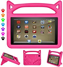 F i r e 7 2019/2017/2015 Kids Case, Roasan Shockproof Protection Stable Stand Super Light Weight Durable Material F i r e 7 inch Display (9th Gen/7th Gen/5th Gen) (Pink)