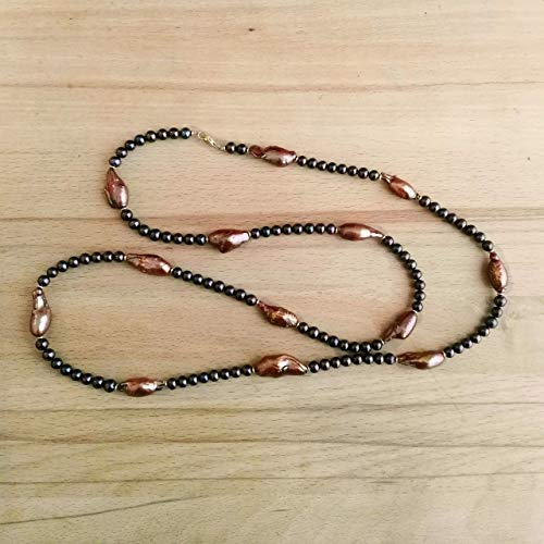 Echte Perlenkette orange braun Damen Silber 925 Länge 95 cm Süßwasser Zucht-Perlen