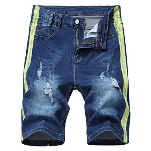 Xniral Jeans Shorts Herren Short Cut Jeans mit Schnittlöchern Zerrissene Hose Jeanshose Jogger-Denim Kurze Hose Stretch-Material Regular Fit(Blau,36)