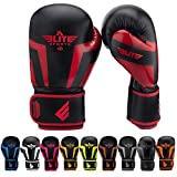 Elite Sports Boxing Gloves for Men, Women, and Kids, Kickboxing Punching Bag Pair of 2 Gloves (Red 6 Oz)