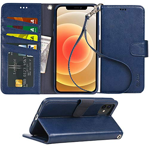Stylish Leather Full-Cover Phone Case 3 Card Slot TANYO Case Suitable for Huawei P smart 2021 Blue Magnetic Closure and Flip Stand Wallet Case