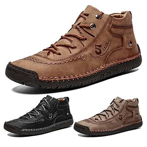 Large Size Men's Short Boots, Autumn and Winter Plus Velvet Cotton Shoes, British Style Men's Casual Handmade Leather Shoes,US 10 Brown,