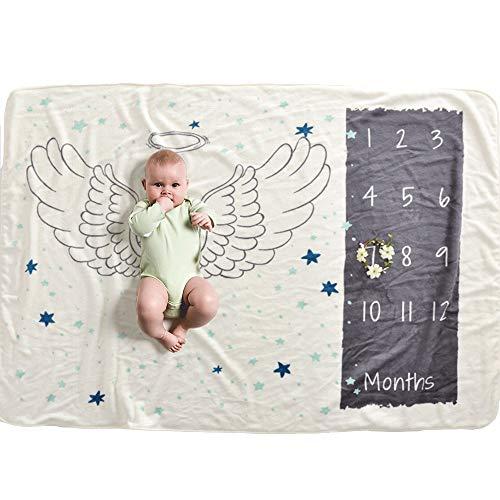 IWILCS Coperta per neonato mese, Coperta per foto per neonati, Puntello per sfondo fotografico, Coperte per età da bambino, Flanella, per ragazzi e ragazze, con piccola corona (70 * 102 cm) (Angelo)